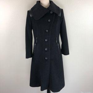Mackage Black Wool Cashmere Leather Pea Coat